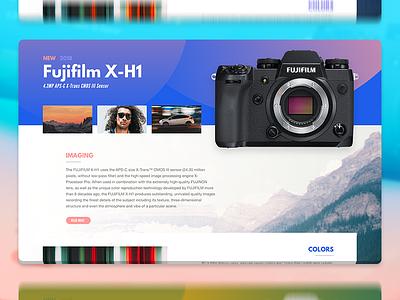 Fujifilm X-H1 Page gradient circles geometric mirrorless camera fujifilm x-h1 adobe photoshop adobe xd interface web fujifilm ui