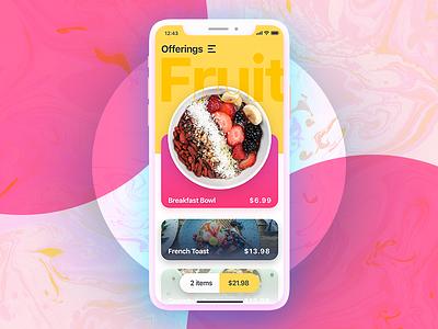 Ordering Screen gradient fruit iphone ios mobile ui app food