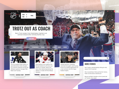 NHL Redesign hockey nhl gradient adobe photoshop adobe xd interface ui web