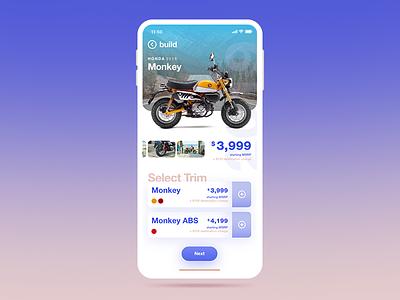 Automobile App motorcycle honda helvetica xd adobe xd ios interface ui app
