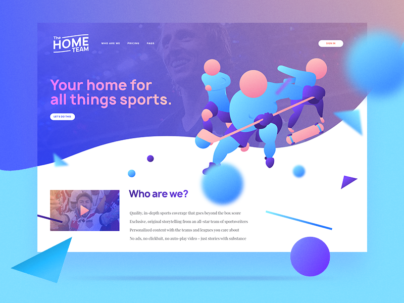 The Home Team - Design adobe illustrator adobe xd skateboarding hockey soccer manrope gradient sports web design web ui