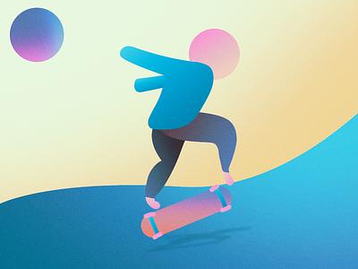 Skater action illustration skateboarding skater gradient adobe photoshop adobe illustrator