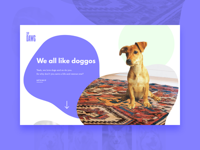 02/30 Dog Rescue Website dogs dog rescue home page homepage home page landing page landing design interface web user interface ui xd adobe xd adobe photoshop