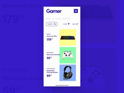 Gamer mobile razer xbox gaming branding home design ios app xd web interface adobe photoshop ui adobe xd