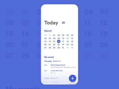 Calendar mobile today events circular calendar design ios app xd web interface adobe photoshop ui adobe xd