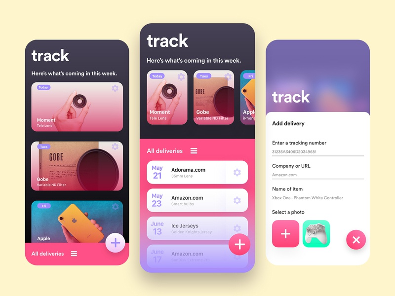 Track android order tracking shipment delivery mobile design ios app xd gradient interface adobe photoshop ui adobe xd