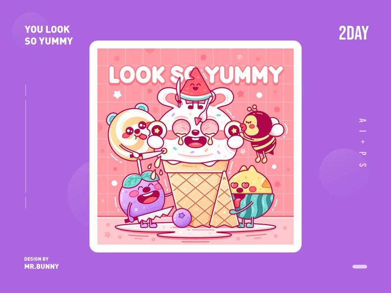 YOU LOOK SO YUMMY flat vector branding gradual ui graphical typography design graphic illustration