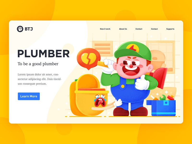 PLUMBER flat branding vector gradual ui graphical typography design graphic illustration