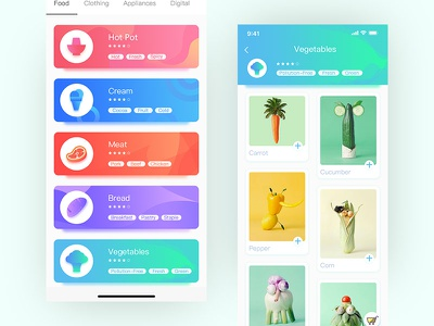 Shop Type App Design practice cool ui color card shopping app