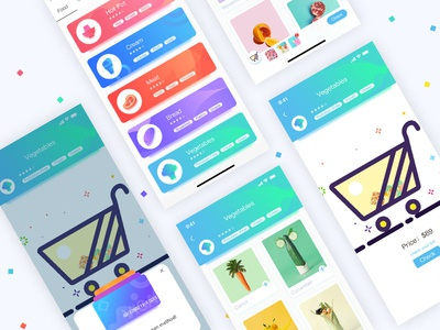Fifth consecutive play cool ui color card shopping app