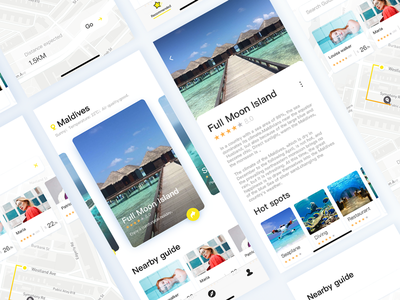 Surrounding tour recommended app ui tourism maldives line free card app