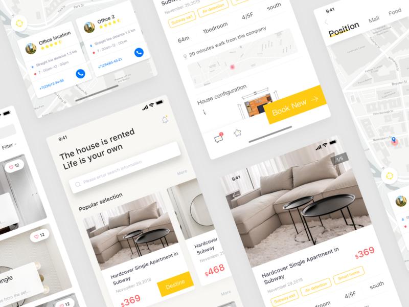 a rental application house renting a house design ui card app