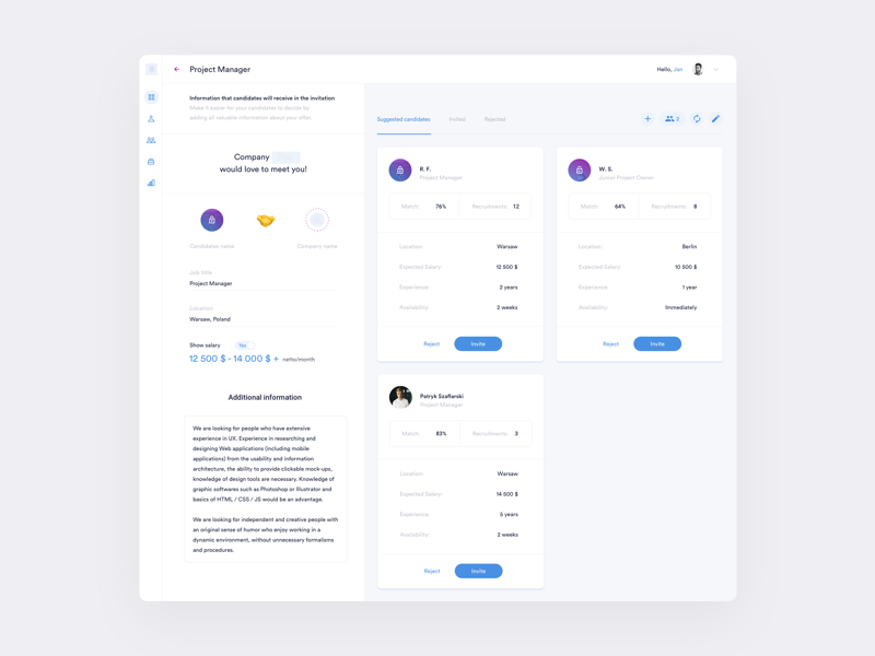 Pre-selection of candidates interface dashboard ux ui web recruitment