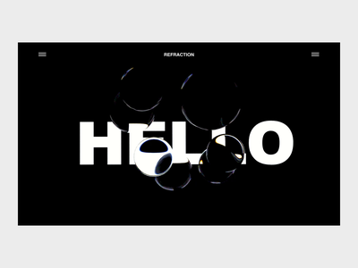 Hello there... c4d under construction landing page hello refraction concept dark animated 3d simple ui design