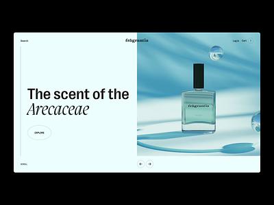 Fragrantia web concept typography summer layouts web layout scent concept cinema4d c4d cinema 4d art 3d art 3d product shot design illustration fragrance graphics brand branding