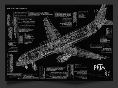 Airplane scheme graphic design rhythm typography black illustration cyrillic scheme airplane