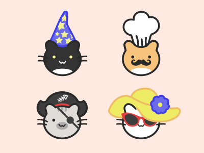 Cats in Hats icons icon illustration lady pirate cook wizard hat cat
