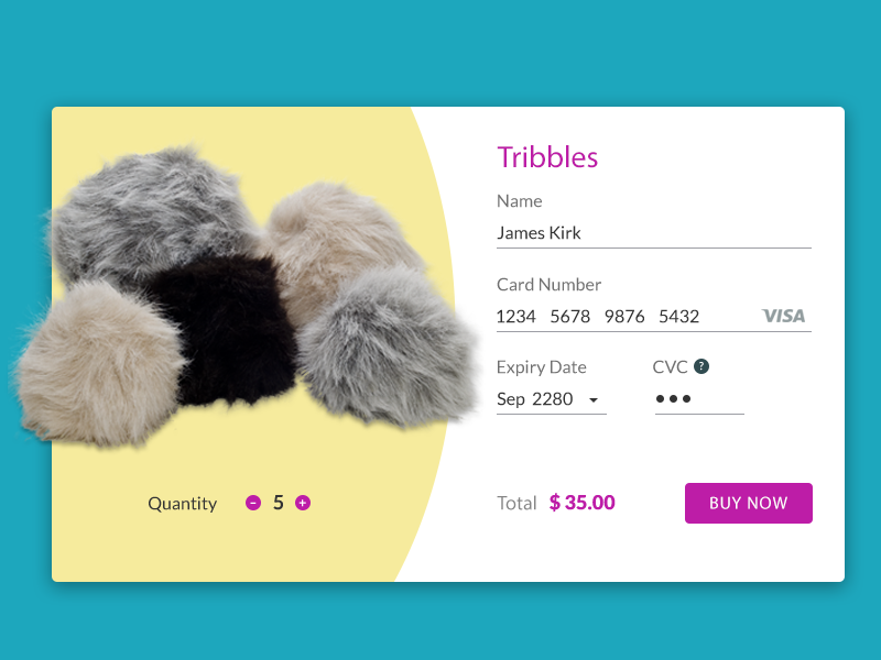 Cute tribbles from Star Trek star trek check out checkout credit card daily ui tribbles