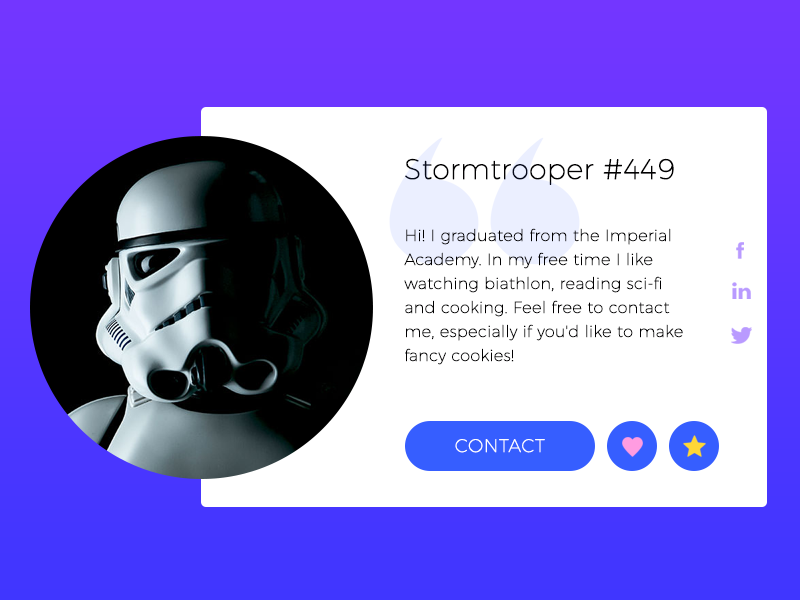 Stormtrooper User Profile star wars user profile daily ui card stormtrooper profile
