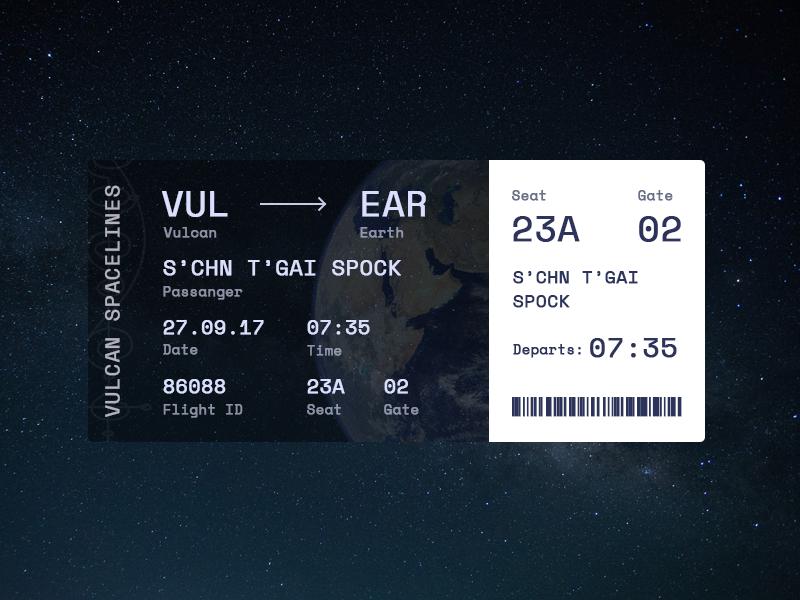 Boarding Pass boarding bass daily ui space trek star ticket