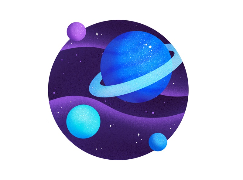 Spaaaace digital illustration procreate galaxy planets planet stars space design illustration