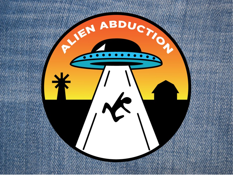 Unconventional Boy Scout Patches: Alien Abduction boy scout abduction patch design boy scouts patch vector ufo alien color design illustration
