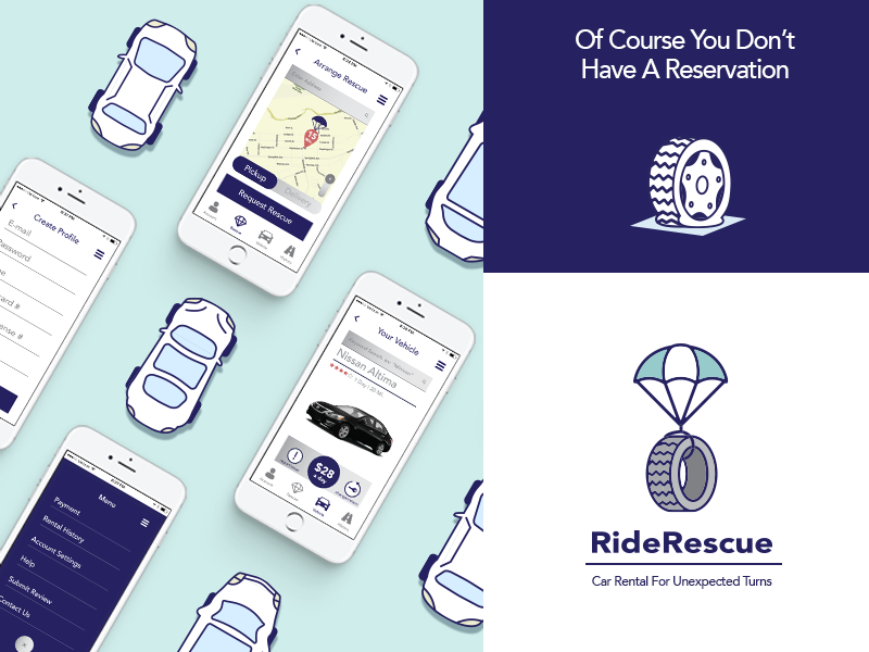 RideRescue Ad minimal advertisement mobile app ux