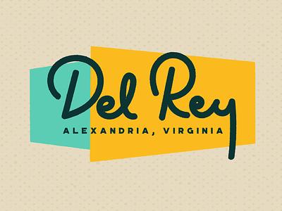 Del Rey - Alexandria, VA vector type font typogaphy logo stroke brushscript retro branding lettering