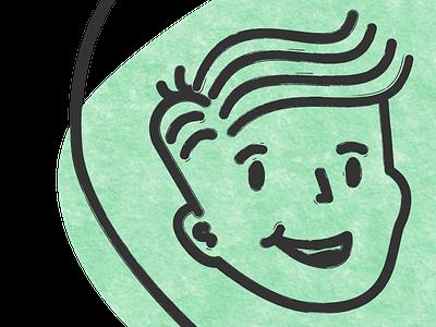 Character Logo - Texture line art brush avatar illustration branding character retro texture logo