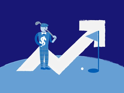 Economics of Private Clubs retro design fashion abstract texture brush golf pattern charachter vector graphic editorial illustration