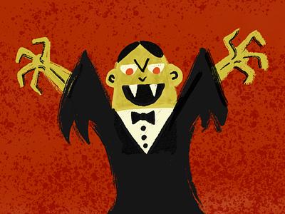 Vampire grain editorial monster spooky vampire texture brush retro illustration halloween