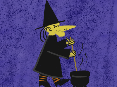 Witch brush retro grain texture editorial illustration witch spooky halloween