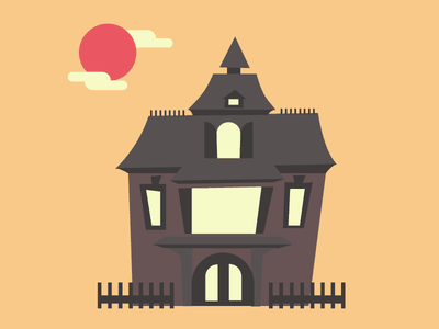 Spooky House haunted mansion october fall scene haunted house halloween asymmetry illustration vector house ghost spooky