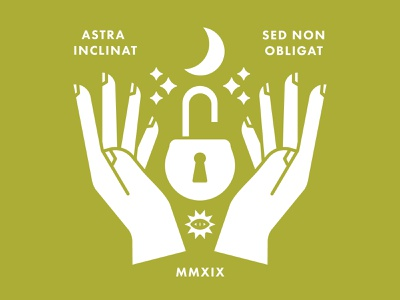 Astra Inclinat, Sed Non Obligat moon stars illustration icon hands graphic art magic occult branding