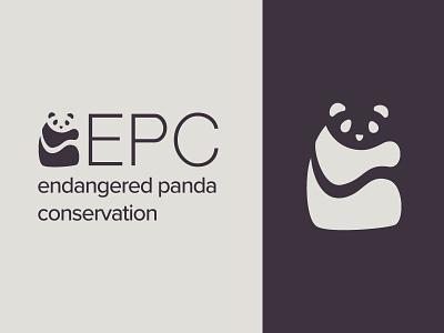 Daily Logo Challenge 03 - Panda Conservation panda vector typogaphy flat dailylogochallenge identity logo clean branding