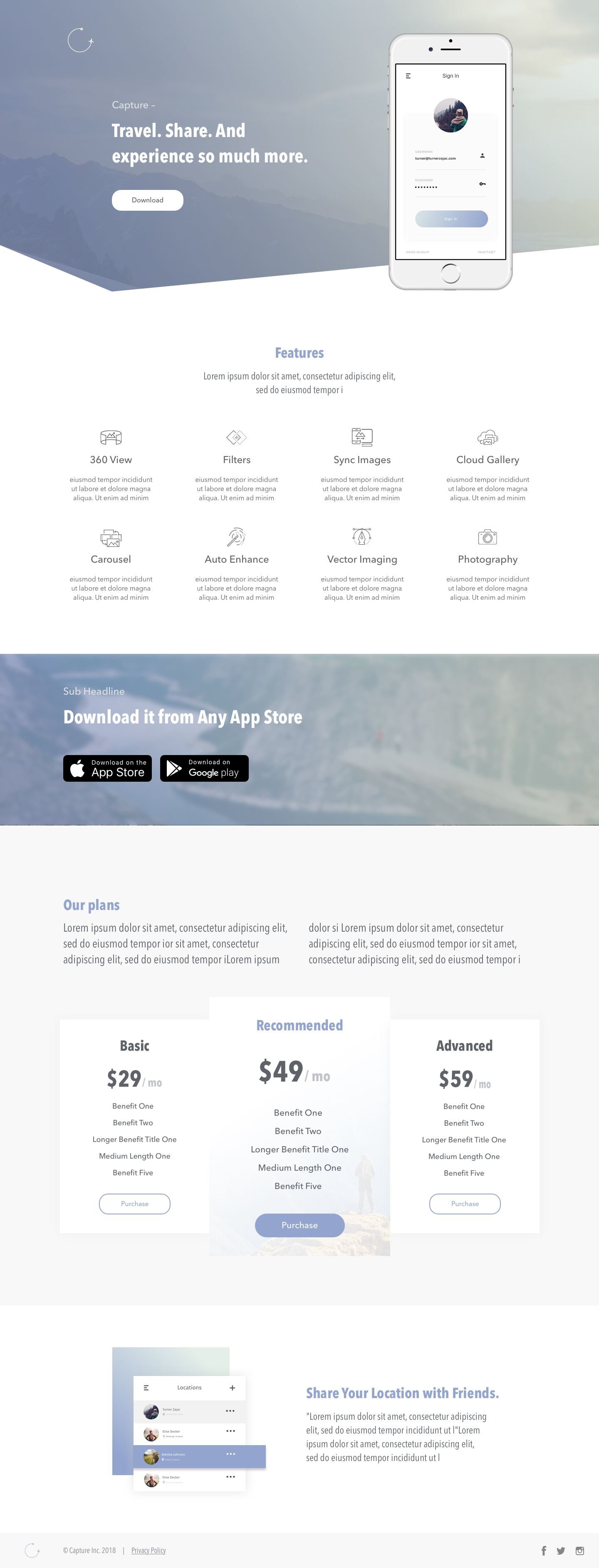 Application pricing page