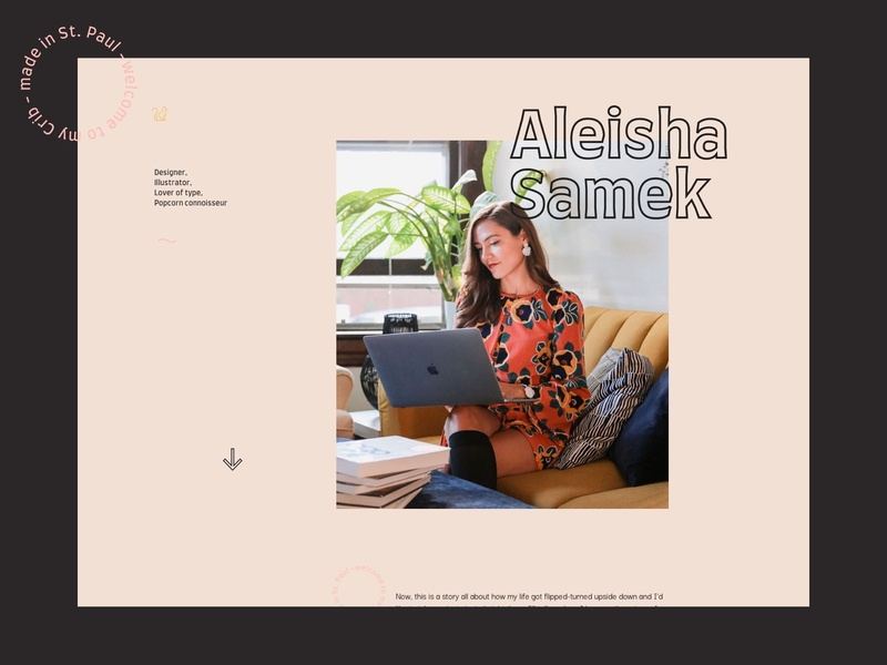Portfolio – Homepage – Aleisha Samek popcorn cats ilustrator portfolio interface design animation landing page website web design interface ux