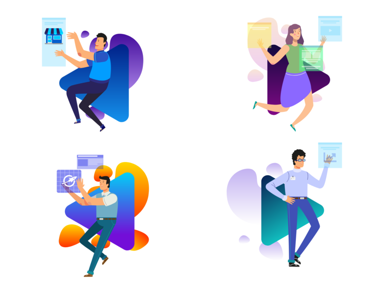 Landing UI Illustrations website branding flat vector ux web illustration ui design