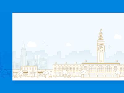 Cityscape Illustrations flat icon website web clean app construction cityscape illustration