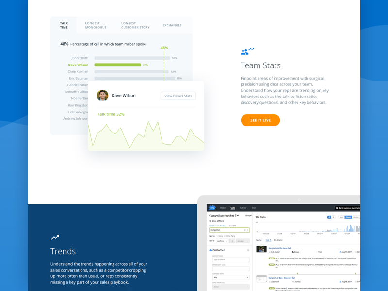 Features page (WIP) web ux ui design screens app chart stats webpage features