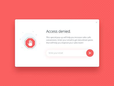 Access Denied pop-up stop ux ui app vector icon animation illustration flat design pop-up