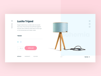 Tripod Lamp - product page cart ecommerce type flat web branding ux vector product typography ui design