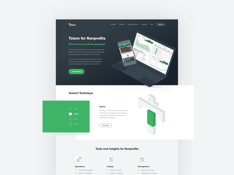 Totem Landing Page website clean web flat isometric illustration grid ui laptop design 3d 2d