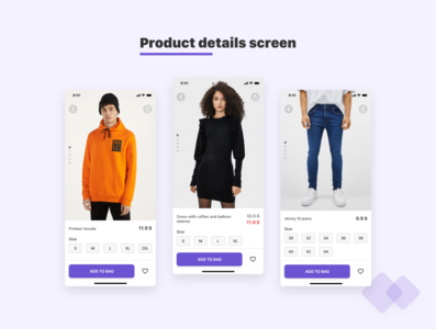 i Fashion app - product detail screens madewithadobexd uikit adobexd product page clothes ecommerce fashion