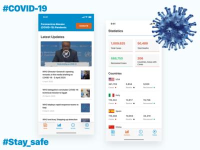 CoronaVirus Tracking App (COVID-19) madewithadobexd medical app uplabs disease virus medical stay safe stayhome covid-19 coronavirus