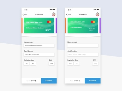 Credit card checkout - DailyUI #002 100 daily ui uidesign interaction design master card e-commerce checkout dailyuichallenge dailyui002 dailyui