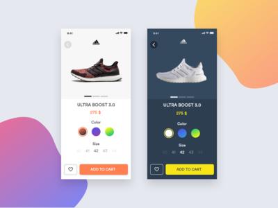 E-Commerce Shop (Single Item) sneakers shoes sport ios iphone dark app light shop single item e-commerce dailyui dailyui012