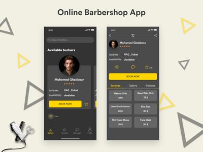 Online Barbershop App madewithadobexd adobexd ui  ux design ux design interaction design iphonex ios dark barber barbershop