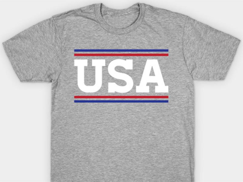 Happy Fourth! red white blue retro vintage minimal store america mockup typography design shirt tshirt usa