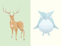 Origami Deer & Owl